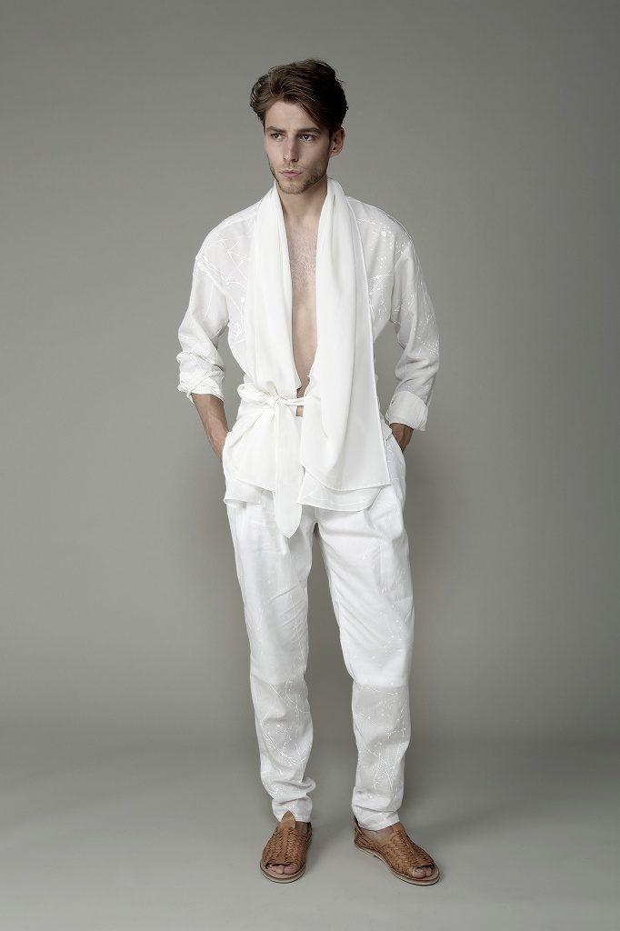 Silk painted short robe